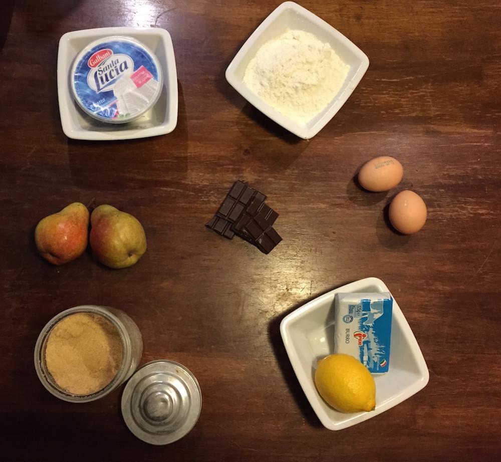 crostata di ricotta pere e cioccolato