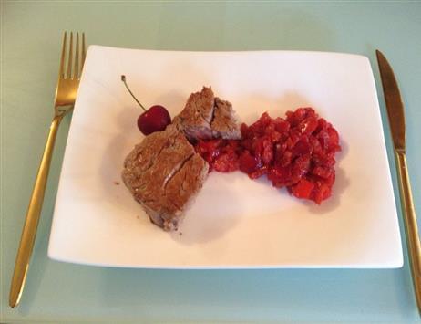 Filetto di manzo con chutney di ciliegie